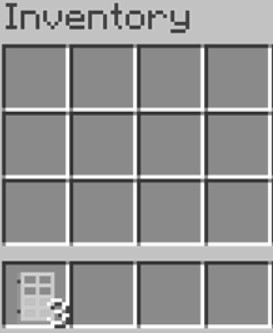 crafted the iron door, now you have to move it to your inventory.