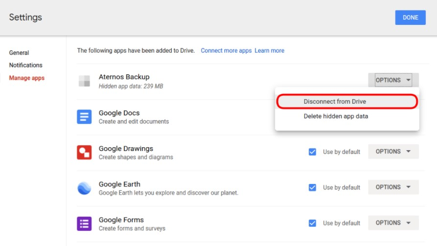 disconnecting a Google Drive account