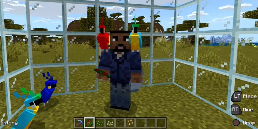 explains how to tame a parrot in Minecraft and get it on your shoulder.