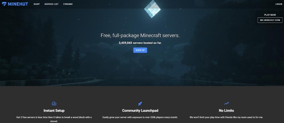 official website of Minehut