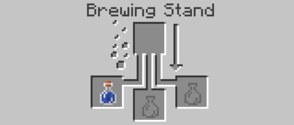 put the water bottle in one of the bottom boxes in the Brewing Stand menu.