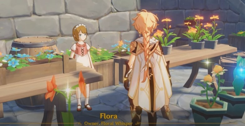 talk to Flora the flower girl near the entry gate of Mondstadt