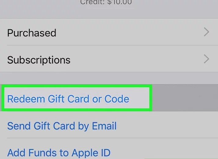 tap the Redeem Gift Card or Code