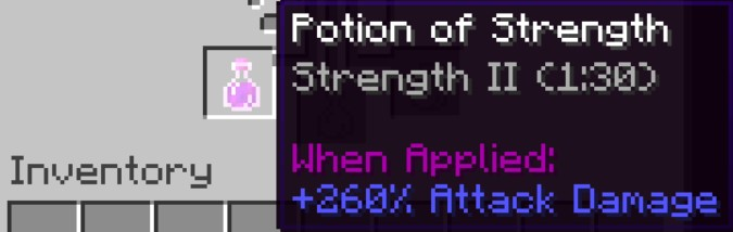 the Potion of Strength II will now show in the brewing Stand.