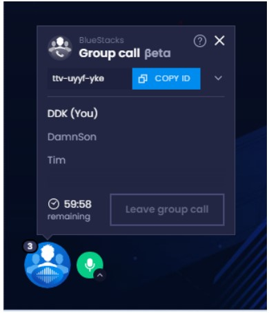 they can use the group call ID and then they can start chatting