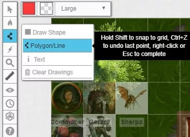 Choose the polygon or line tool