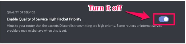 Enable Quality Of Service High Packet Priority, and turn it off