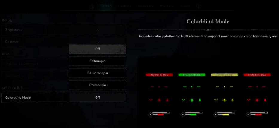 Enabling the Colorblind mode in Assassin's Creed Valhalla