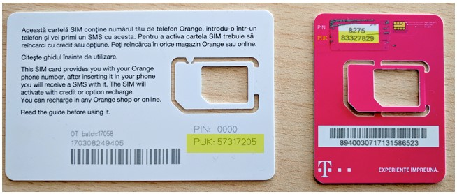 Get the PUK code from the SIM card packaging