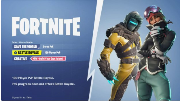 Launch Fortnite, and create a Save the World, Battle Royale, or Creative lobby