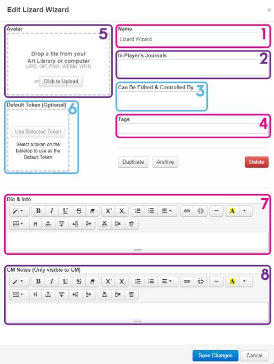 Navigating Your Character Sheet