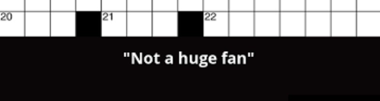 Not a Huge Fan Crossword Clue-