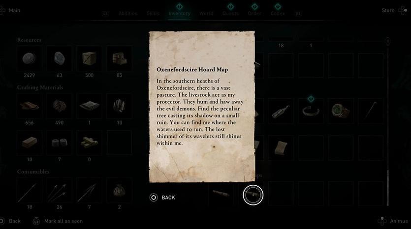 Oxenefordscire Treasure Hoard map clue