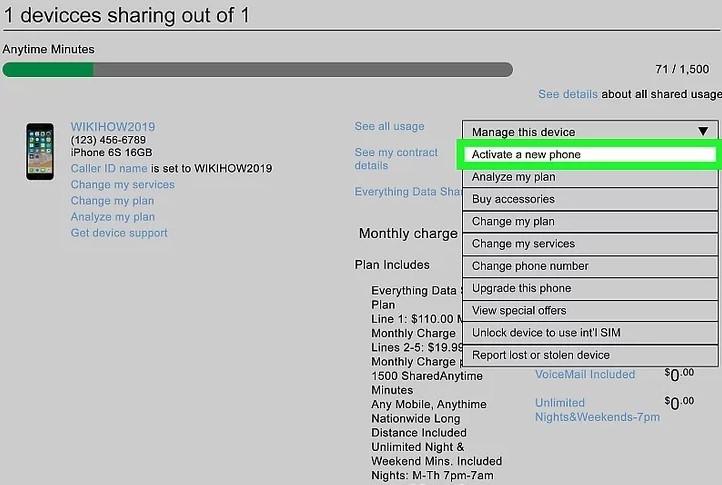 clickActivate a new phonein the drop-down menu