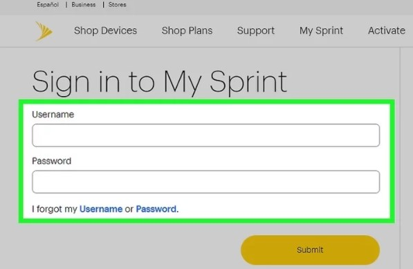 enter your Sprint username and password
