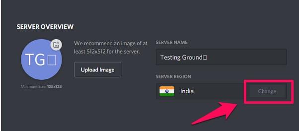 see the Server Region below its name