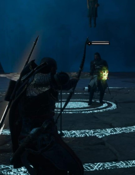 shoot Basim with an arrow into his now glowing left hand