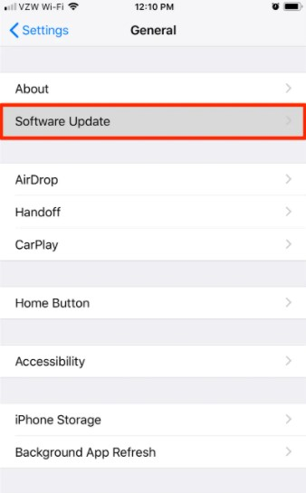 tap the Software Update tab.