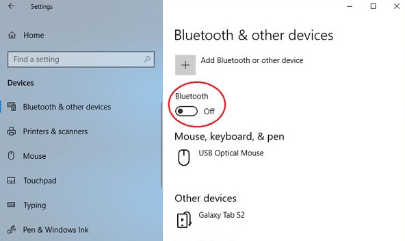 turn on Bluetooth on Windows 10 PC
