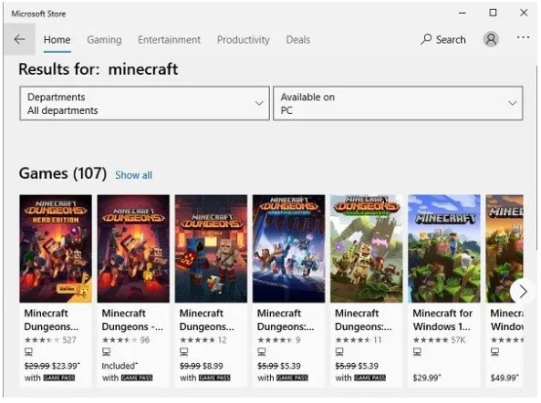 type in minecraft for windows 10