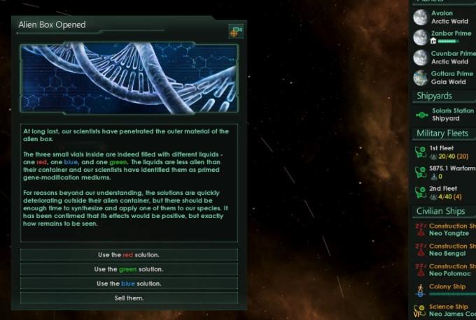 Stellaris Alien Box Opened