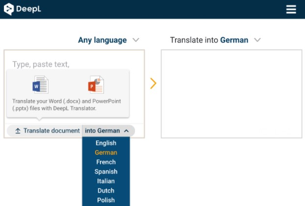 choose the language you want to translate the document into