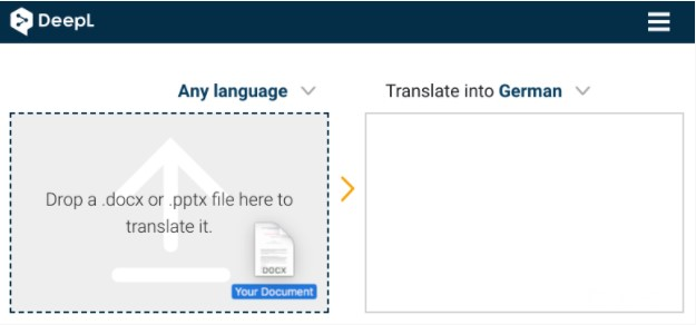 drag the file to be translated into the input field on the left