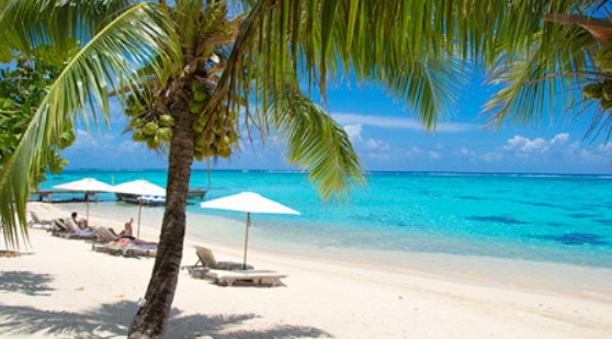 The beaches in Bora Bora and Moorea