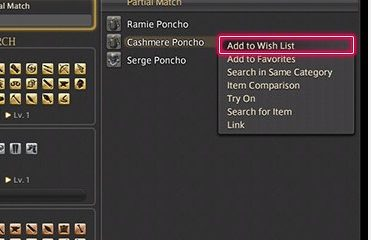 choose Add to Wish List from the subcommands
