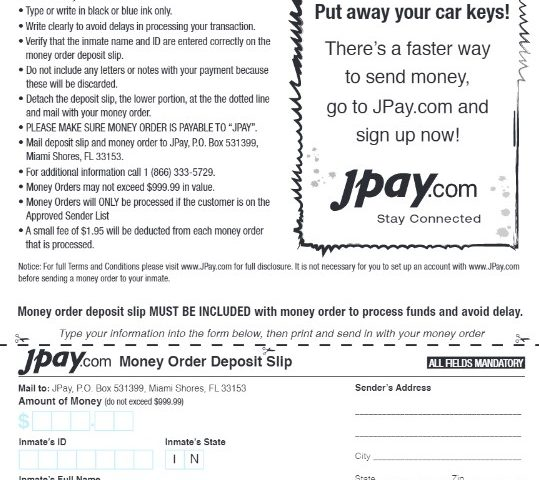 How to Send Money Order to JPay