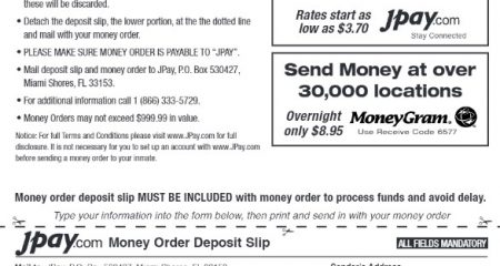 JPay Form to Send Money to Inmate