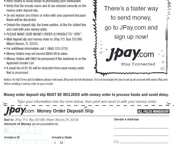 JPay Money Order Deposit Form Printable
