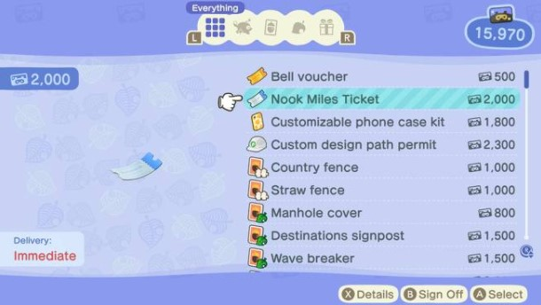 Nook Miles Ticket lottery