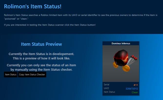 Roblox Item Status Checker