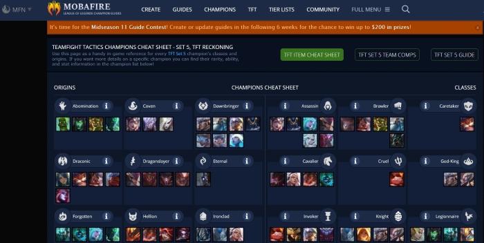 TFT Cheat Sheet (Teamfight Tactics Champion)