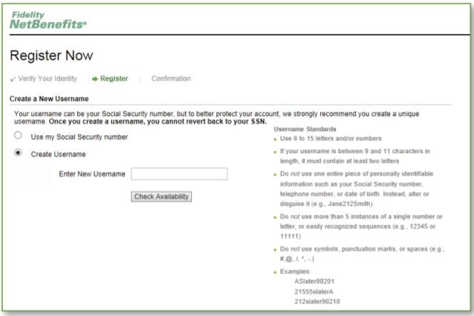 create a new username Fidelity NetBenefits