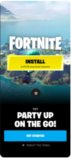 select Install to set up Fortnite