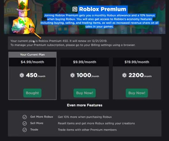 shown your current Roblox Credit balance