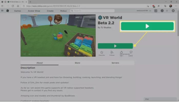 find Roblox a game which supports VR
