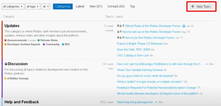 DevForum homepage, you will see a ' + New Topic' option.