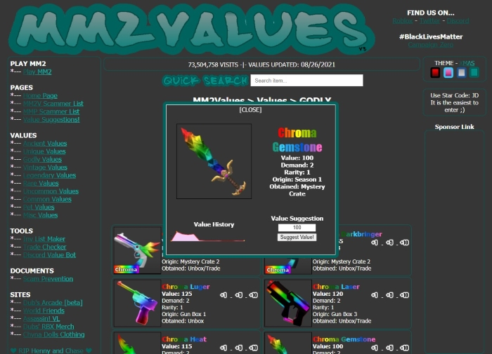 What is Chroma Gemstone Worth in MM2