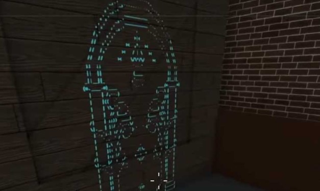 hologram door which appears on a wall