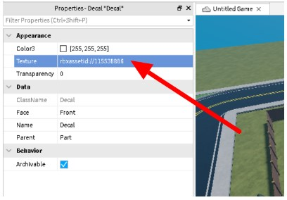 paste the Asset ID of an image on the Texture property and press Enter.
