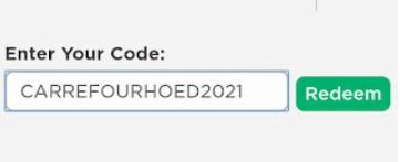 redeemCarreFourHoed2021 Roblox Code