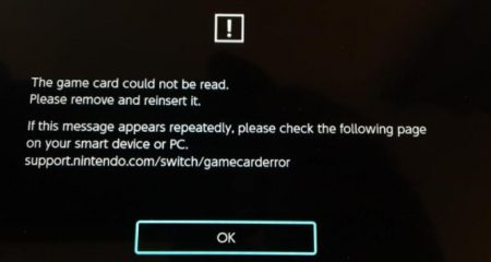 About support.nintendo switch game Card Error