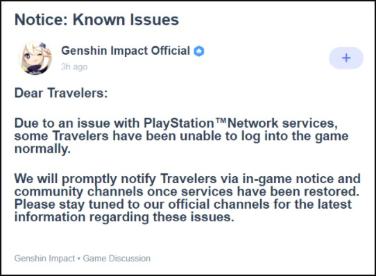 Genshin Impact released an official statement