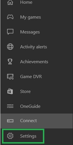 Settings menu in the game
