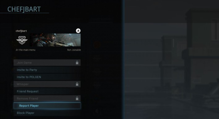 find the name of the cheater and then choose Report Player